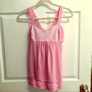 Lululemon pink and white workout tank top